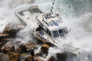 Water Police Launch Wrecked at Queenscliff